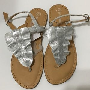 Cat & Jack Silver Thnong Sandals girls size 2